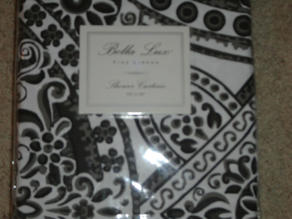 Lace shower curtains shower curtain 70 x 72 - Bella Lux Black Gray White Damask Paisley Shower Curtain