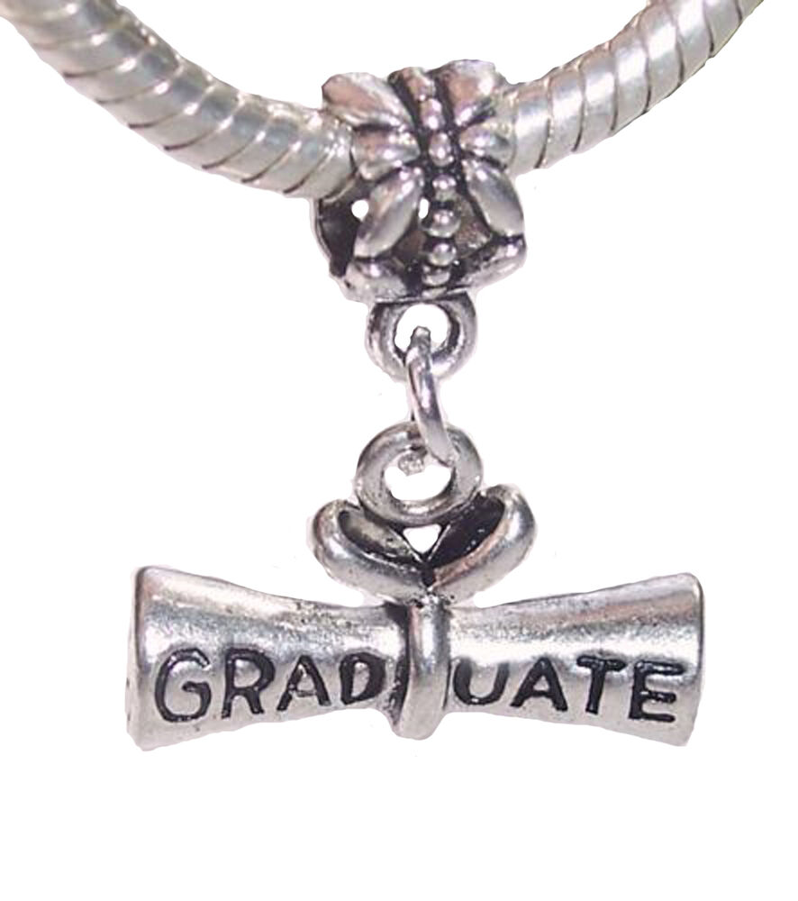 Bead Charms For Bracelets: Graduate Diploma Graduation Gift Dangle Bead For Silver