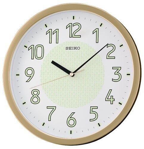 new seiko lumibrite silent quiet sweep wall clock bedroom office gold