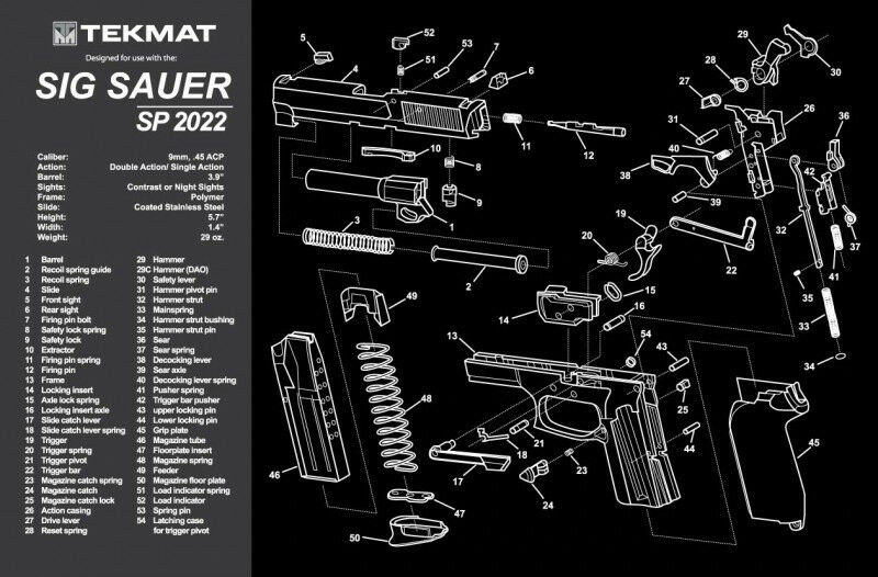 Tekmat For Sig Sauer Sp2022 Handgun Gun Cleaning Mat 11x17