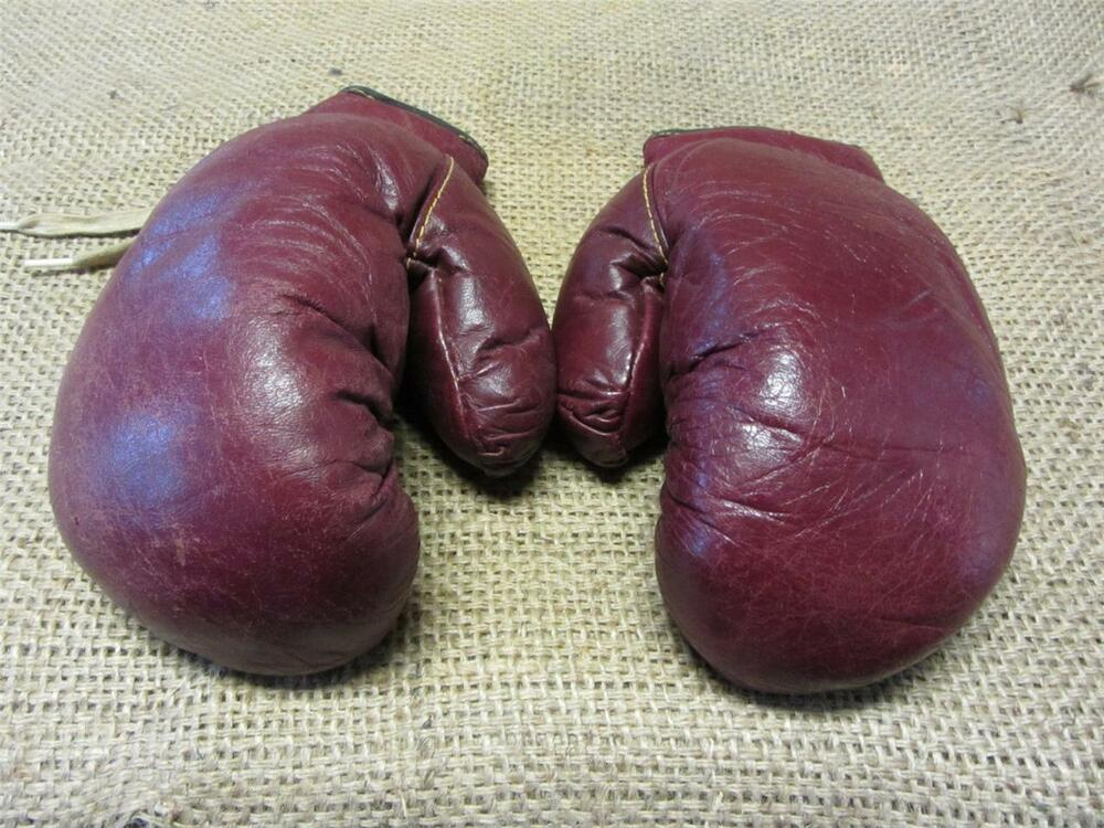 Vintage Leather Boxing Gloves Antique Old Sports Ring