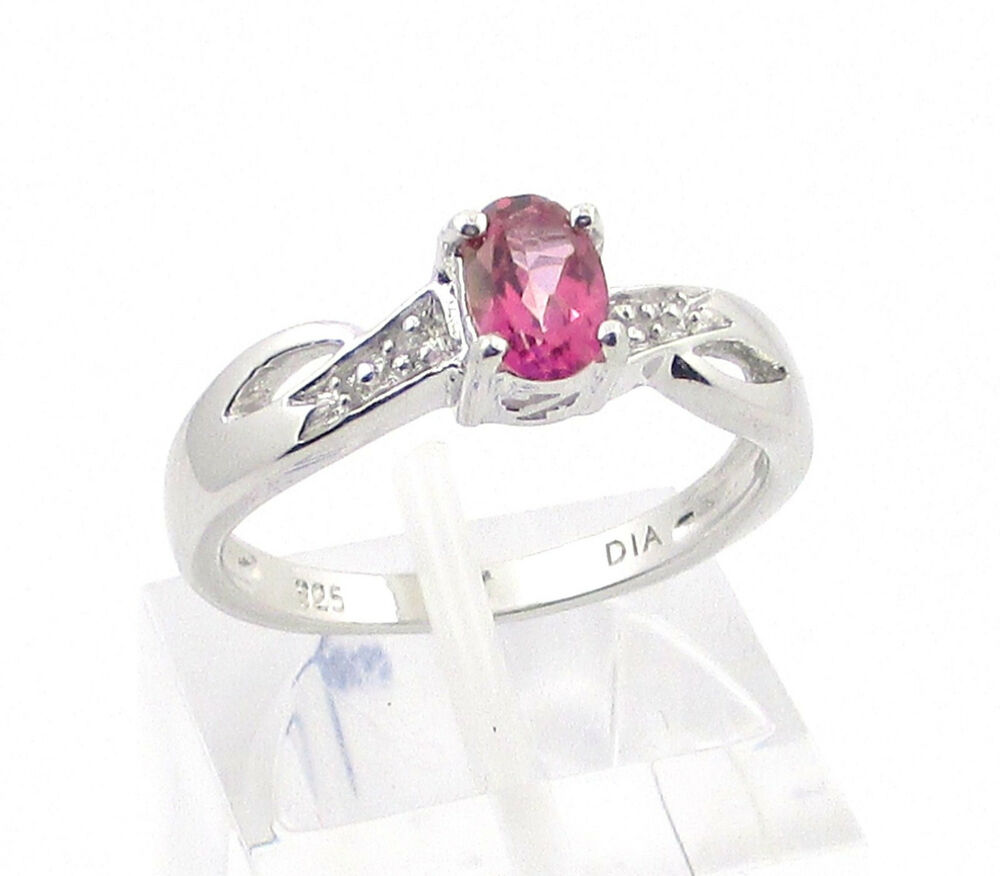 sterling silver pink topaz engagement ring size
