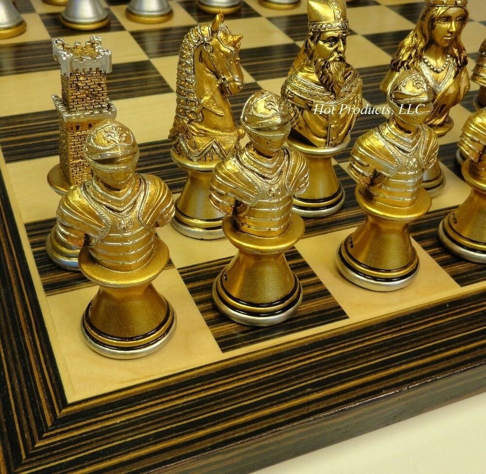 Medieval times crusade busts chess set gold silver ebony black maple 14 board ebay - Medieval times chess set ...