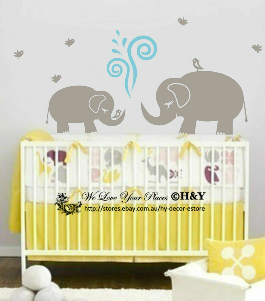 Cute elephant wall sticker vinyl decal kid nursery baby for Baby name nursery decoration