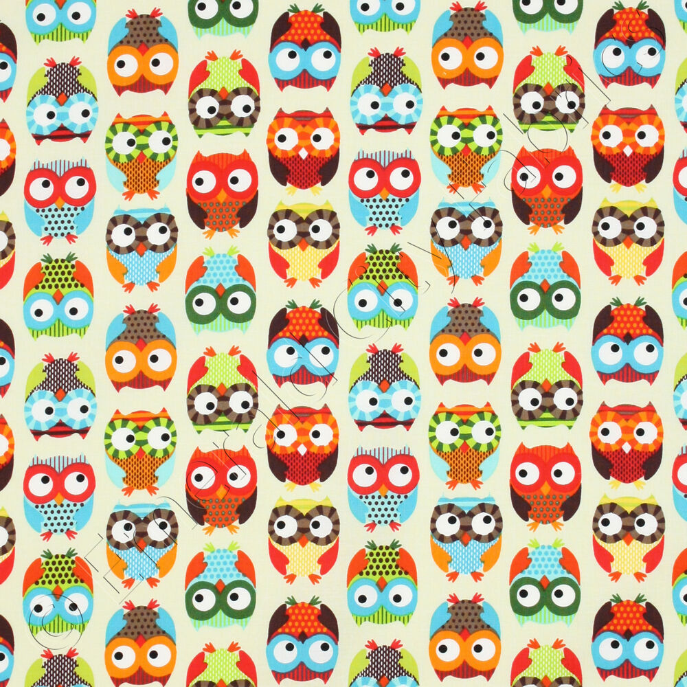 Timeless treasures bright owl cream alice kennedy kids for Bright childrens fabric
