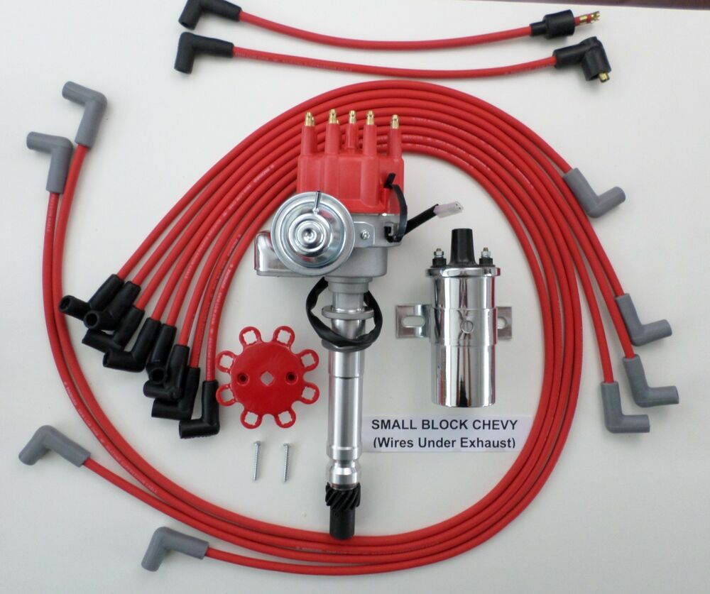 RED SMALL BLOCK CHEVY Small HEI Distributor,CHROME Coil