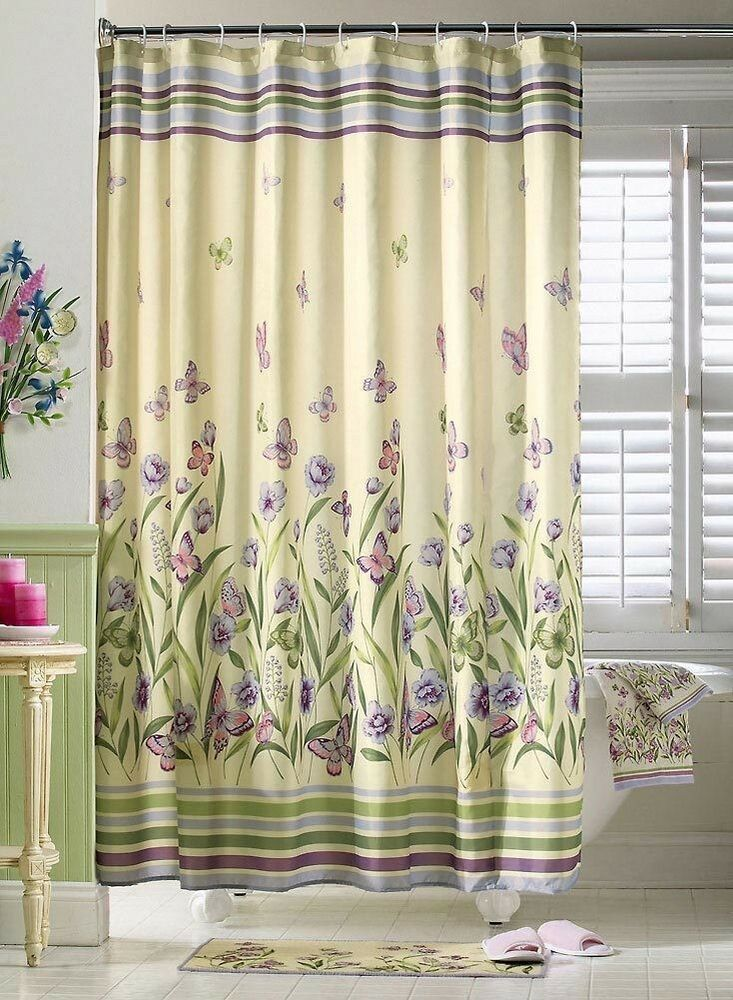botanical butterfly garden purple green floral shower curtain bathroom