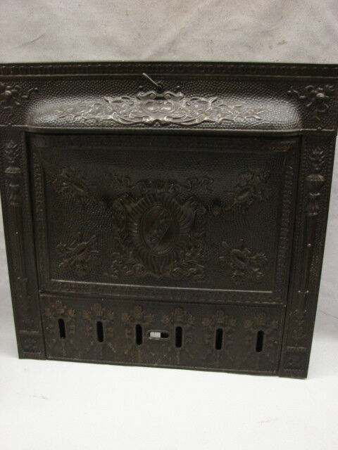 OVERSIZED ANTIQUE LATE 1800'S TIN ORNATE SHIELD GAS FIREPLACE TIN SUMMER COVER | eBay