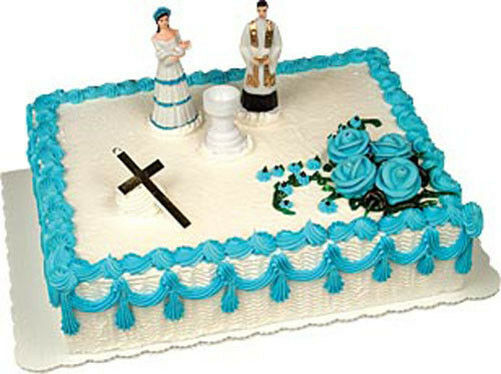 Baby boy christening baptism cake decorating kit topper for Baby boy cake decoration ideas
