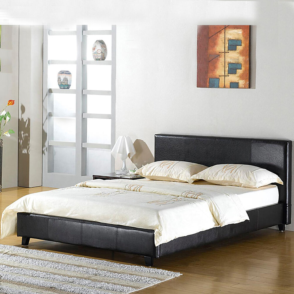 leather bed double king black brown white with memory foam. Black Bedroom Furniture Sets. Home Design Ideas