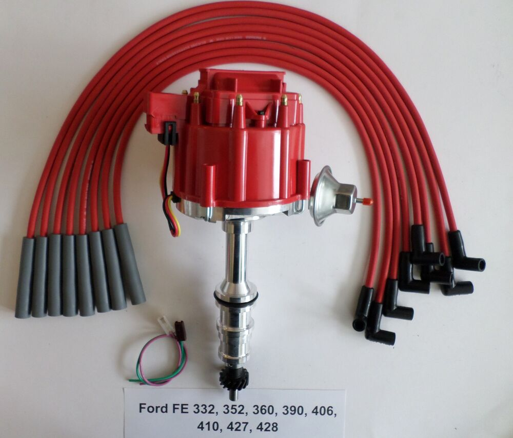 Ford Fe 332352360390410427428 Red Hei Distributor Spark 390 Coil Wiring Plug Wires Ebay