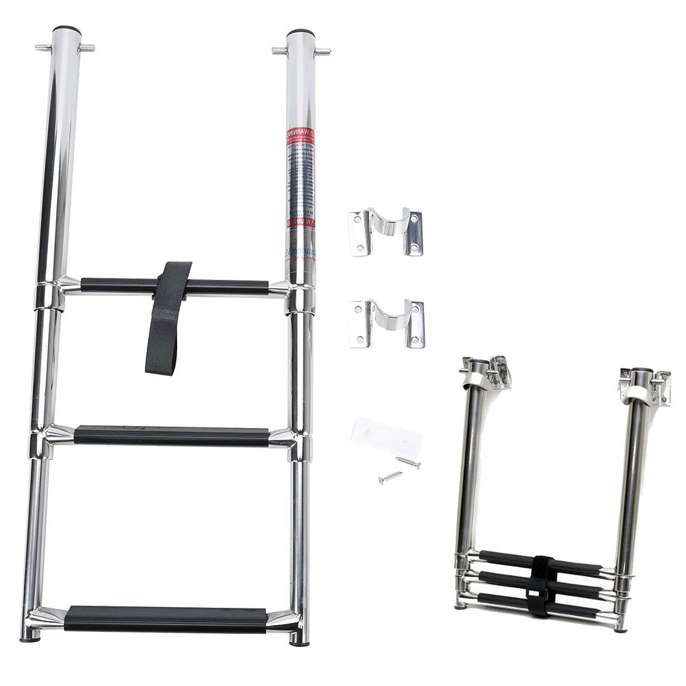 Telescopic Ladder Parts : Step stainless under mount telescoping boat boarding