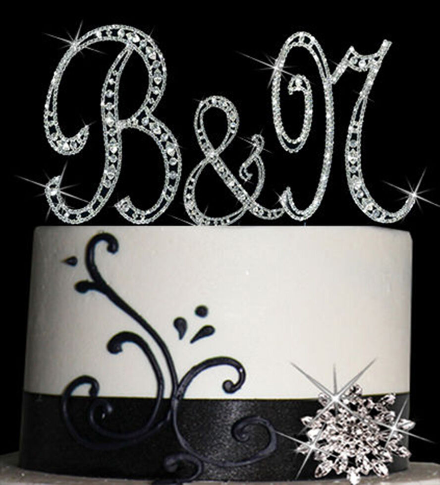 wedding cake topper monogram initials diamante monogram letter cake topper bling initial 26358