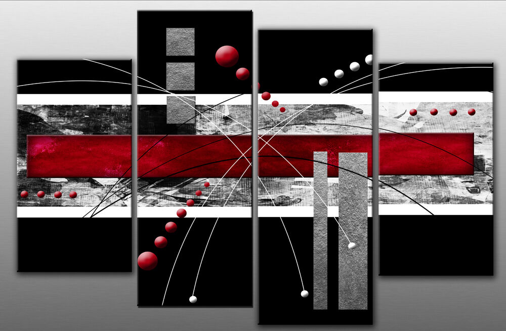 Wall Art Canvas Red : Large red black grey abstract canvas picture wall art