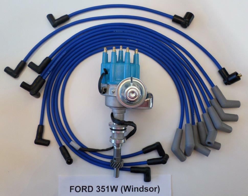FORD 351W (351 Windsor) BLUE Small Cap HEI Distributor and 8mm SPARK ...