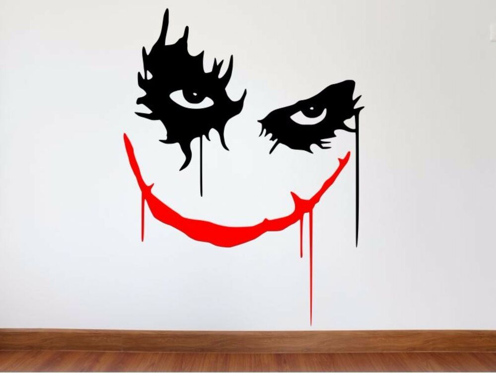 Joker wall decal batman dark knight joker vinyl wall for Dark knight mural