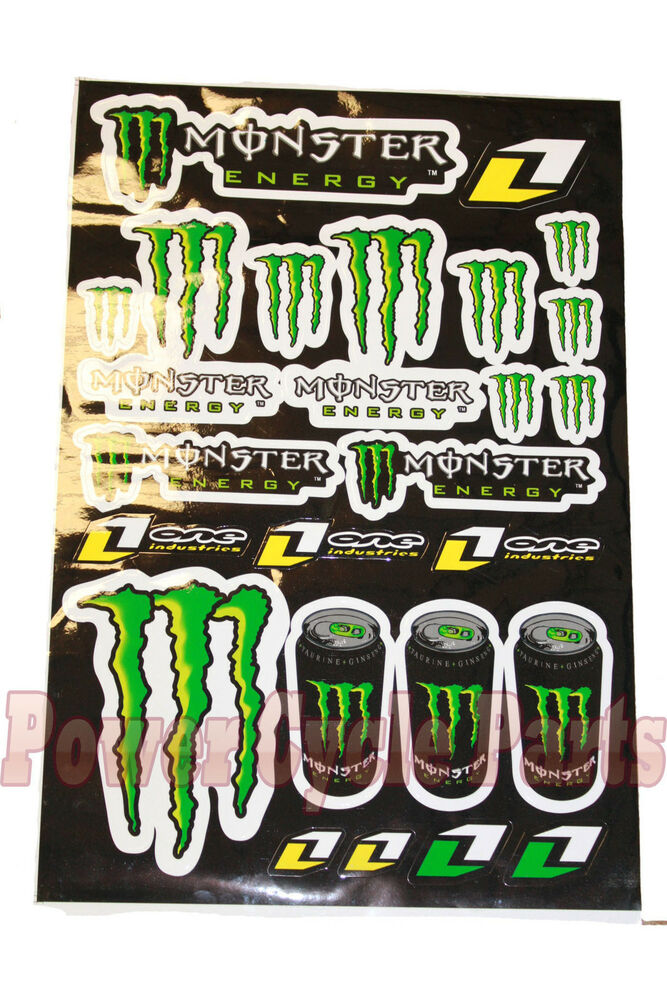 monster energy one industries styled sticker decals. Black Bedroom Furniture Sets. Home Design Ideas