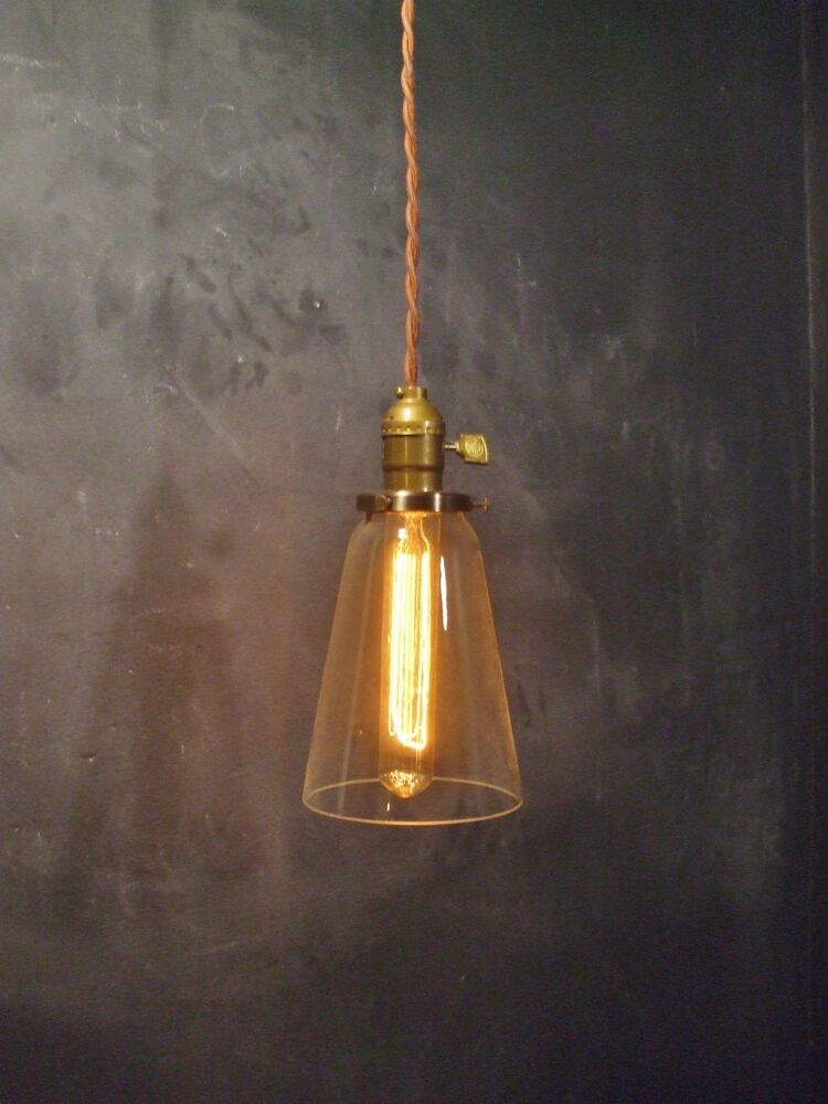 vintage industrial hanging light w tubular glass shade machine age