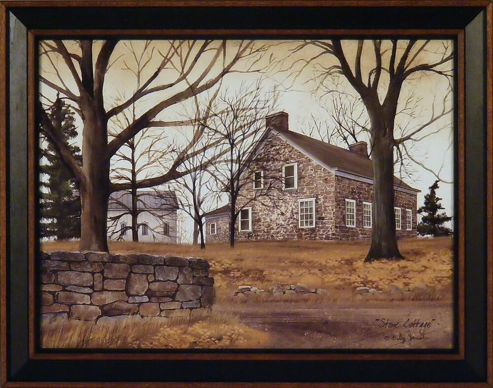 stone cottage by billy jacobs 15x19 framed art print brick
