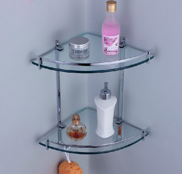 Chrome Glass Wall Corner Shower Caddy Storage Cosmetic Shelf Dual Tier Ebay