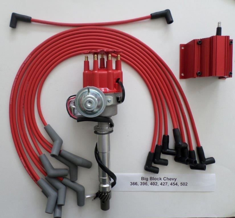 big block chevy 396 427 454 red small hei distributor coil spark plug wires ebay. Black Bedroom Furniture Sets. Home Design Ideas