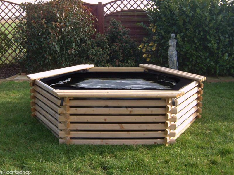 Garden pool 300 gallon liner raised wooden fish pond for Fish pond tanks for sale