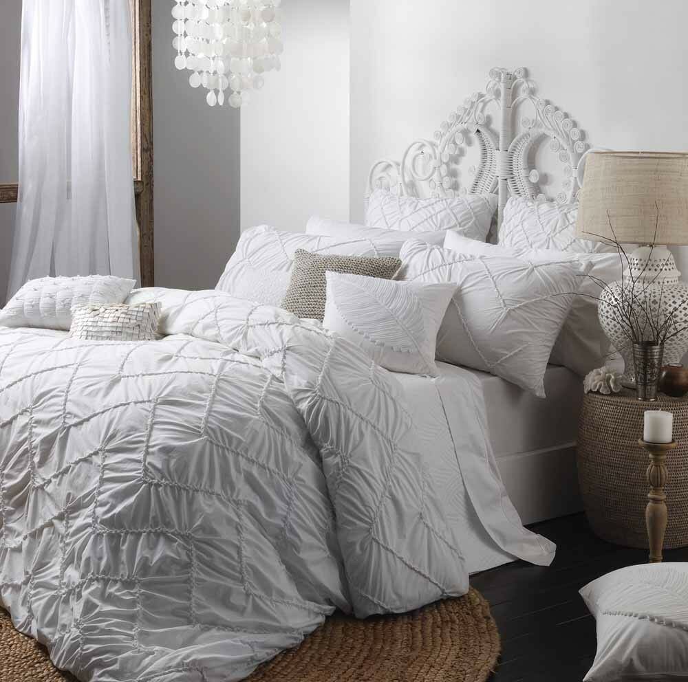 Hadley White Queen King Size Bed Doona Quilt Cover Set By