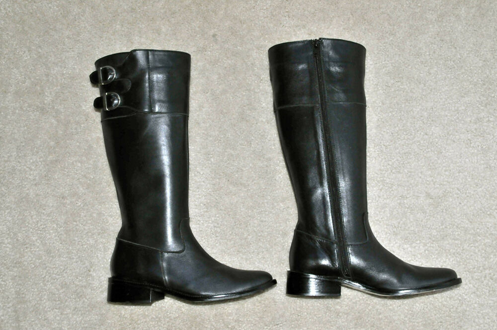 argentinian black leather boots polo style ebay