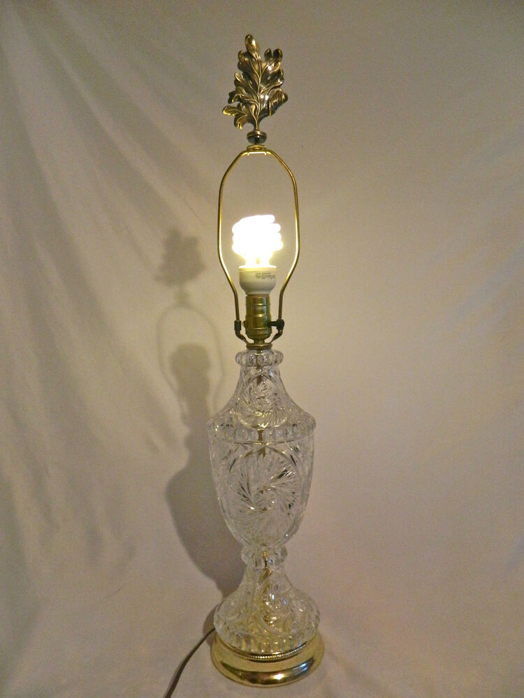 Vtg Crystal Lamp With Metal Leaf Finial 17 Quot Tall Gold