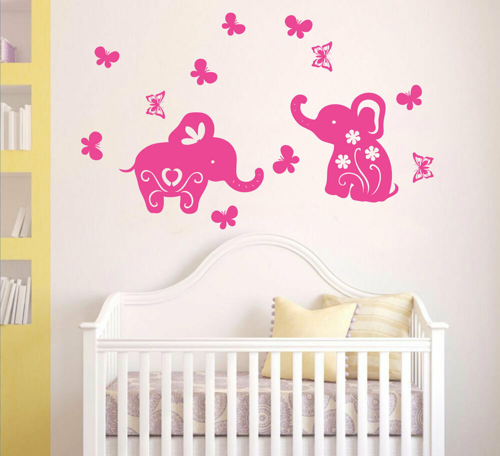 Baby elephants butterflies removable wall stickers for for Elephant mural nursery