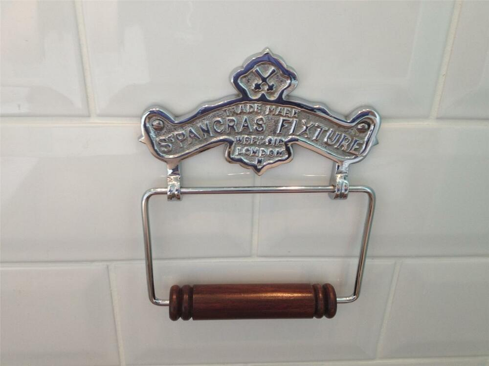 Quality Vintage Antique Style Chrome Brass Toilet Roll