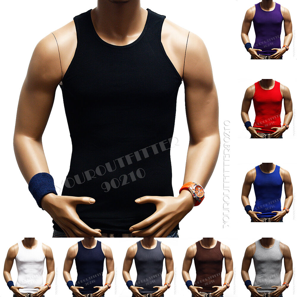 Men 39 s premium cotton a shirt muscle ribbed wife beater for Tall sleeveless t shirts