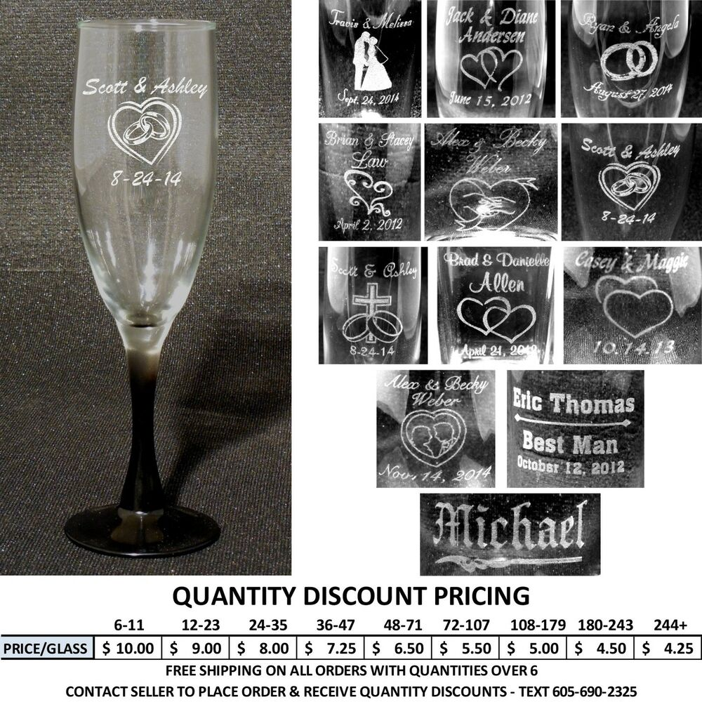 How Many Wine Glasses For Wedding Gift : ... FlutesChampagne Glasses Engraved Wedding Party Gifts eBay