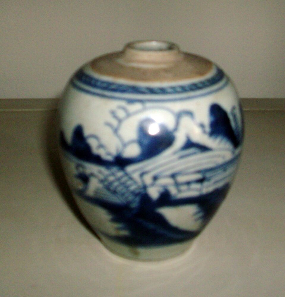 Antique 19th Century Chinese Porcelain Blue Amp White Jar Vase Export 1800 Ebay