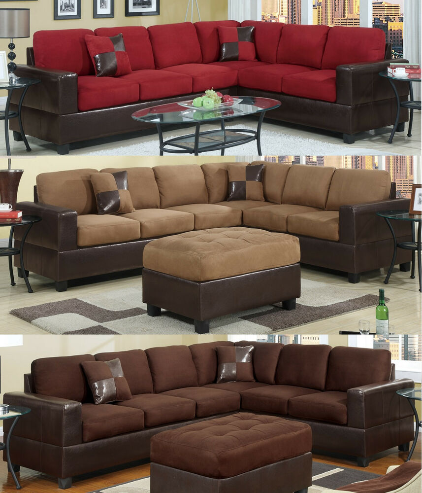 Microfiber sectional couch 2 pc living room set 3 color ebay