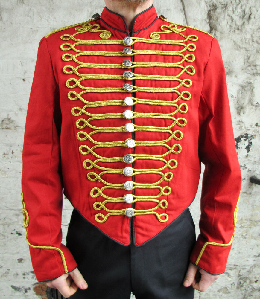 Red military jacket gold braid parade tunic guard coat for Red with gold