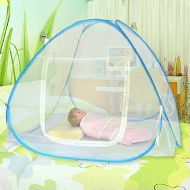 portable foldable baby kids toddler bed crib pop up canopy mosquito net tent hut ebay. Black Bedroom Furniture Sets. Home Design Ideas
