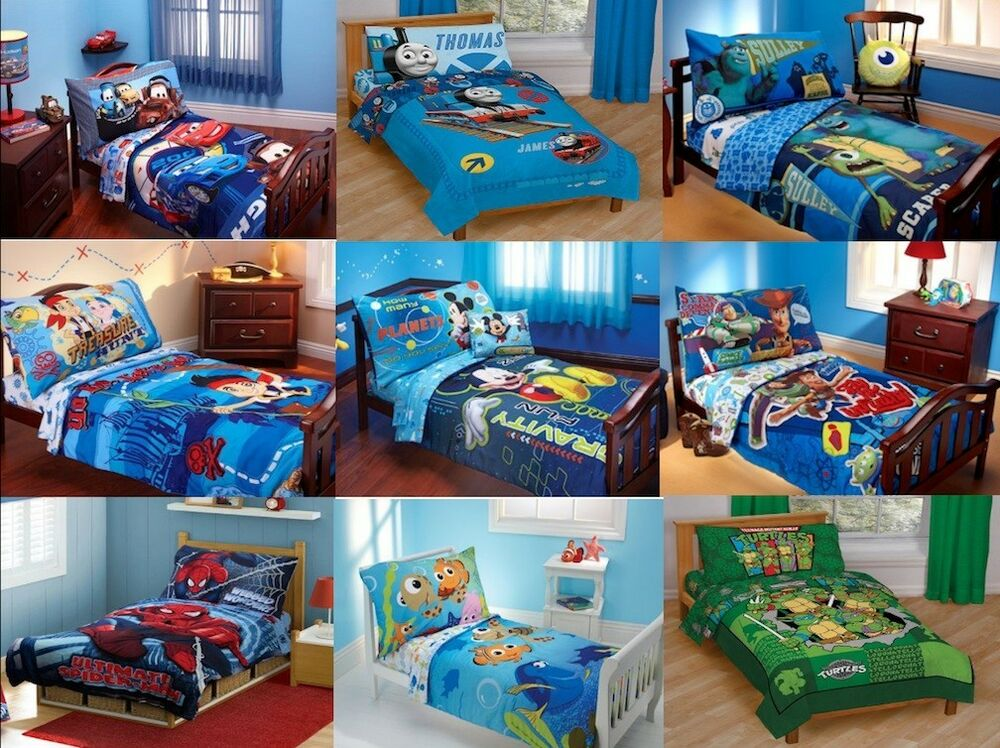 new boys 4pc toddler bedding set multiple disney 19968 | s l1000