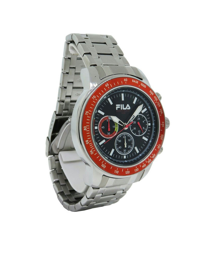 Fila fa0783 24 cortina men 39 s round stainless steel black chronograph watch ebay for Fila watches