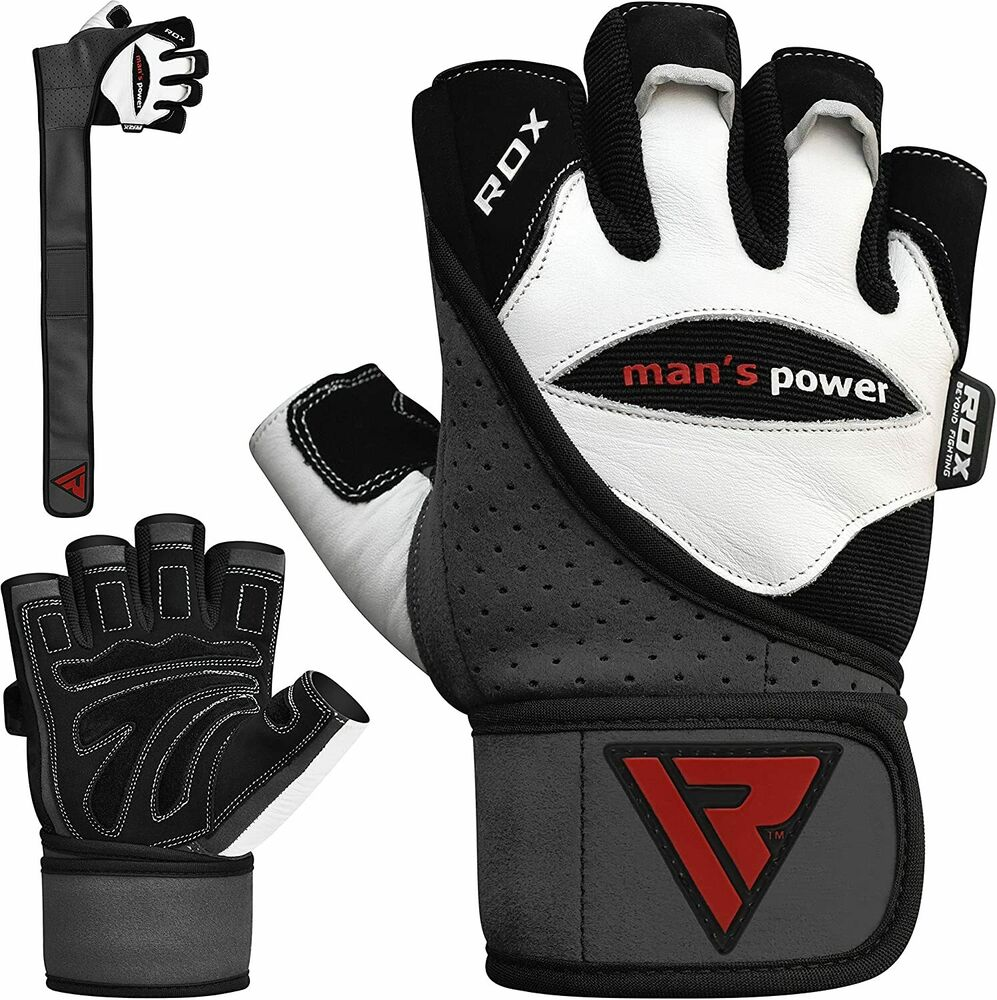 Rdx Bodybuilding Gym Gloves Training Workout Weight: RDX Leather Power Lifting Gloves Body Building Gym Long