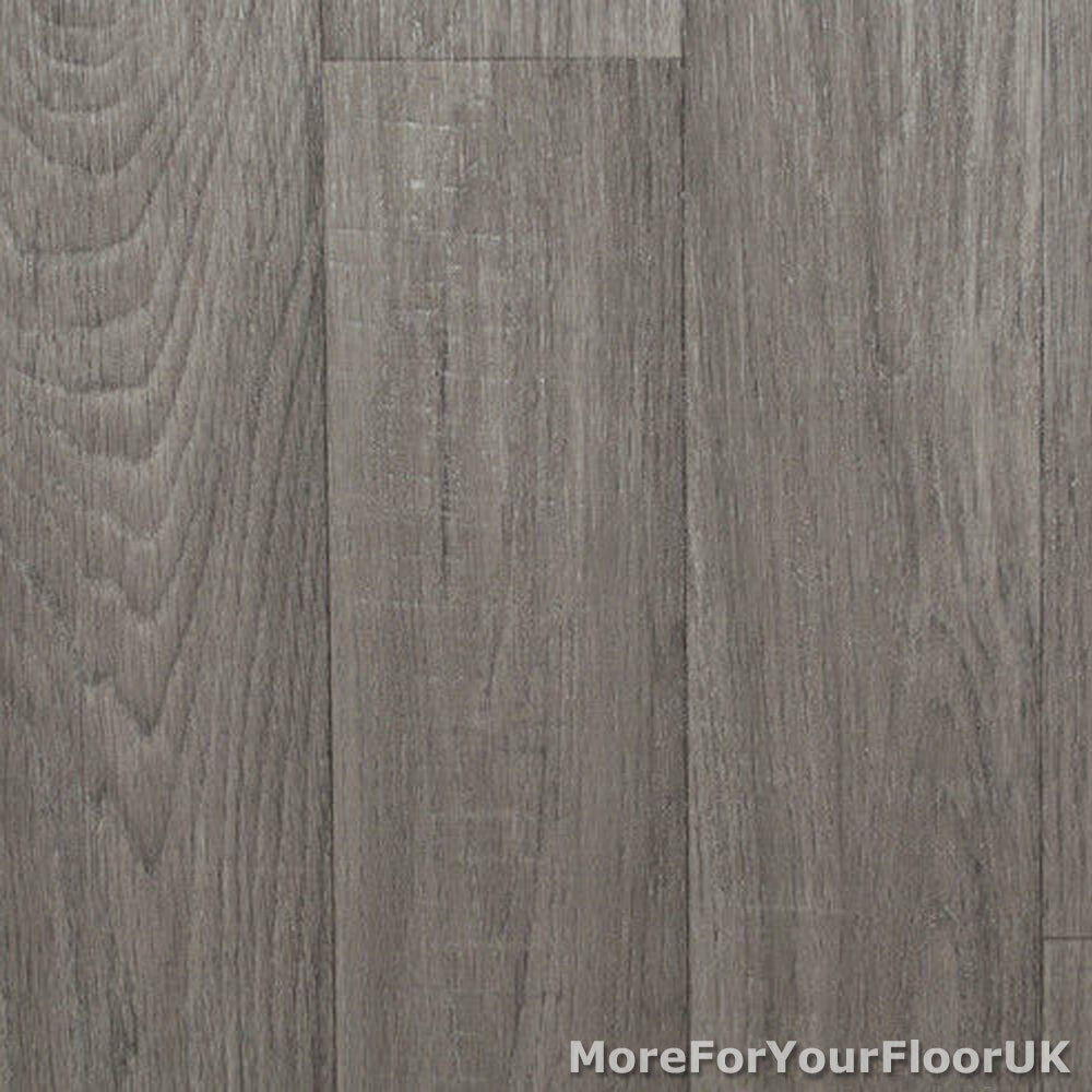 Grey Kitchen Lino: Mid Grey Wood Plank Vinyl Flooring, Slip Resistant Lino 4m