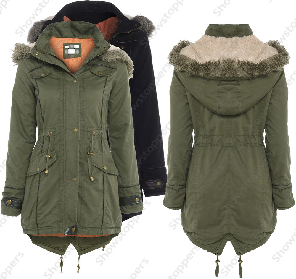 NEW Womens OVERSIZED HOOD PARKA Ladies JACKET COAT FISHTAIL Size 8 ...