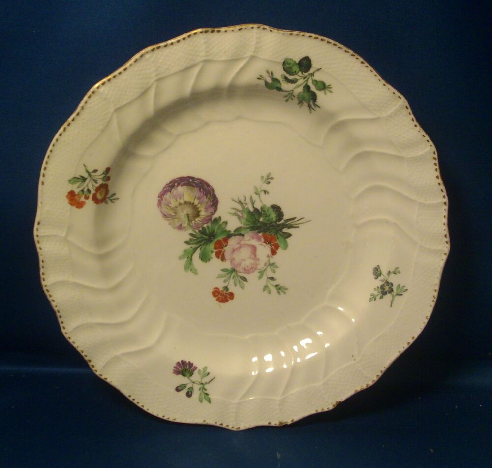 Antique Meissen Porcelain Plate Bowl Botanical Basketweave