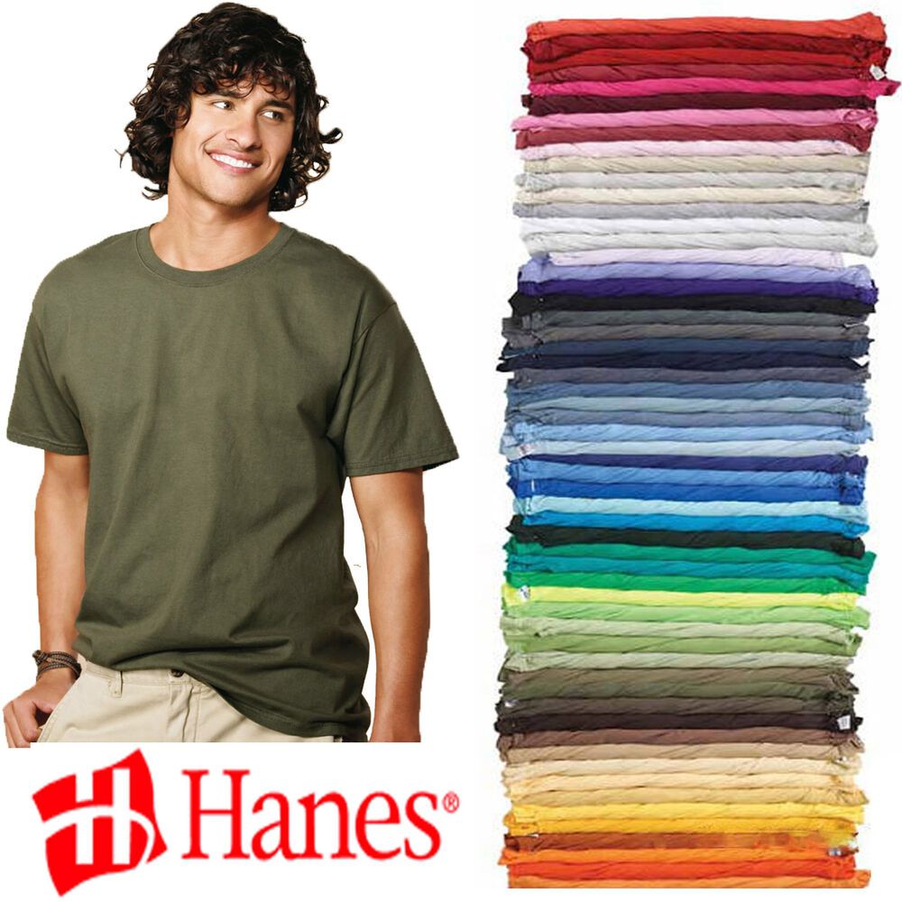 Hanes Tagless Blank T Shirt Wholesale Bulk Lot Colors