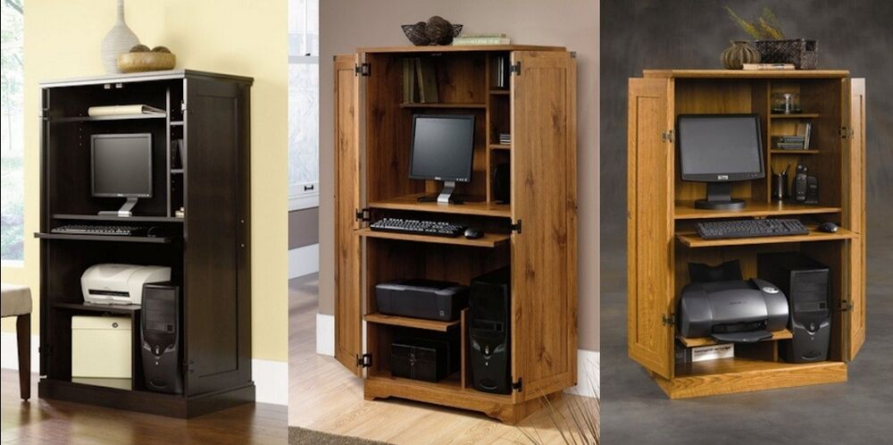 Space saving home office computer desk armoire cabinet multi finish ebay - Computer armoires for small spaces property ...