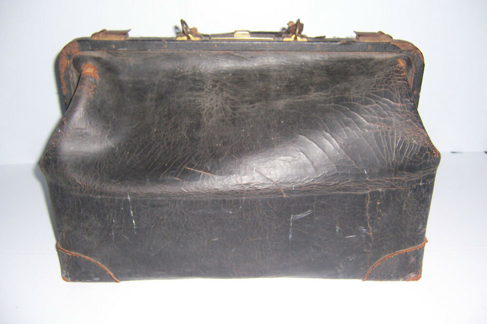Antique Black Leather Large Medical Doctor Bag Ebay
