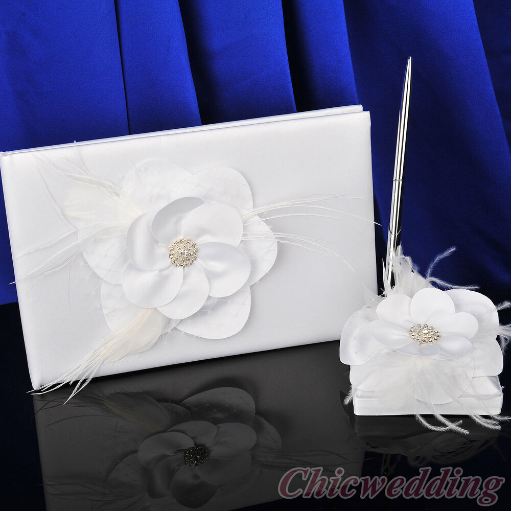 Free Wedding Book: Flower White Wedding Guest Book And Pen Set Anniversary