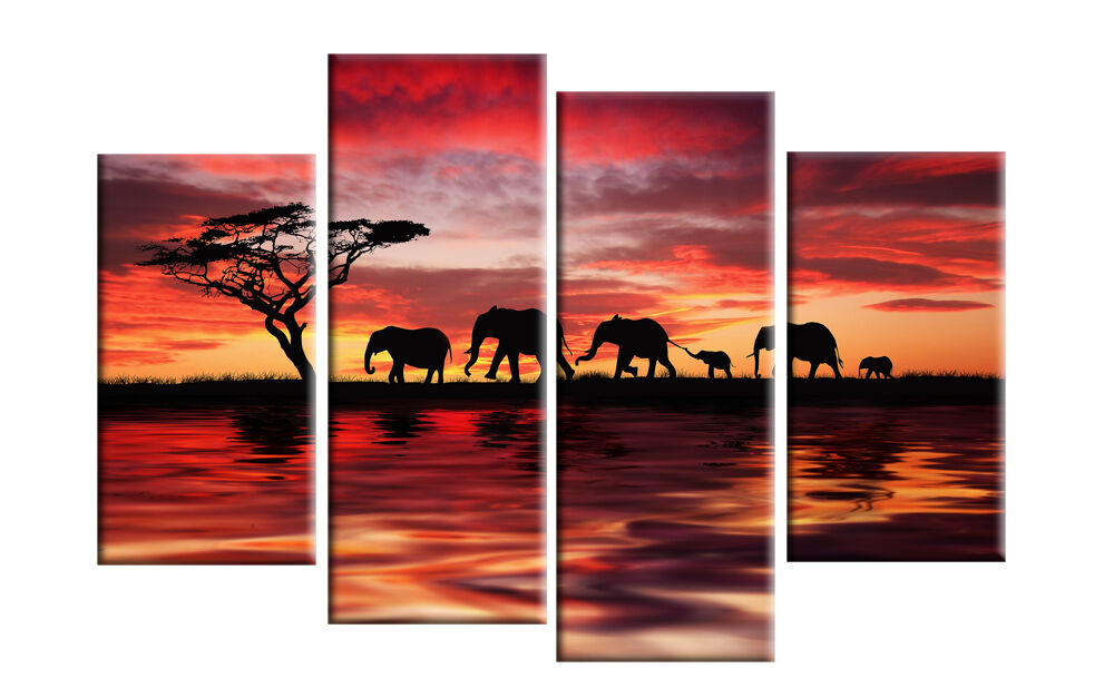 Elephants colorful sunset on water canvas picture wall art for Multi canvas art diy