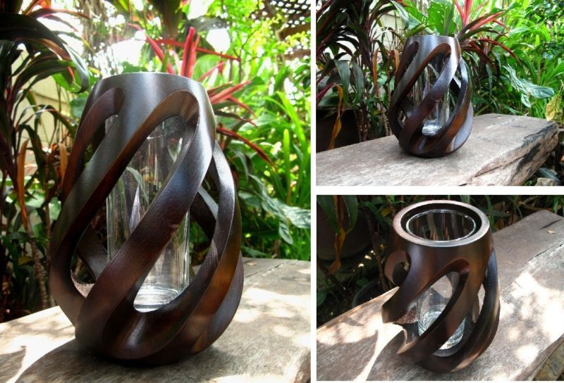 handmade modern mango wood vase home / garden decor gift twist, Garden idea