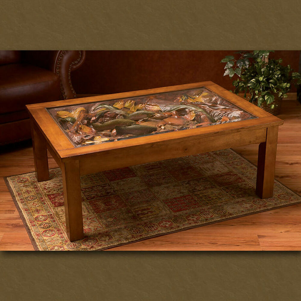 Big Sky Carvers William Herrick Trout Stream Coffee Table Fly Fishing Table Ebay